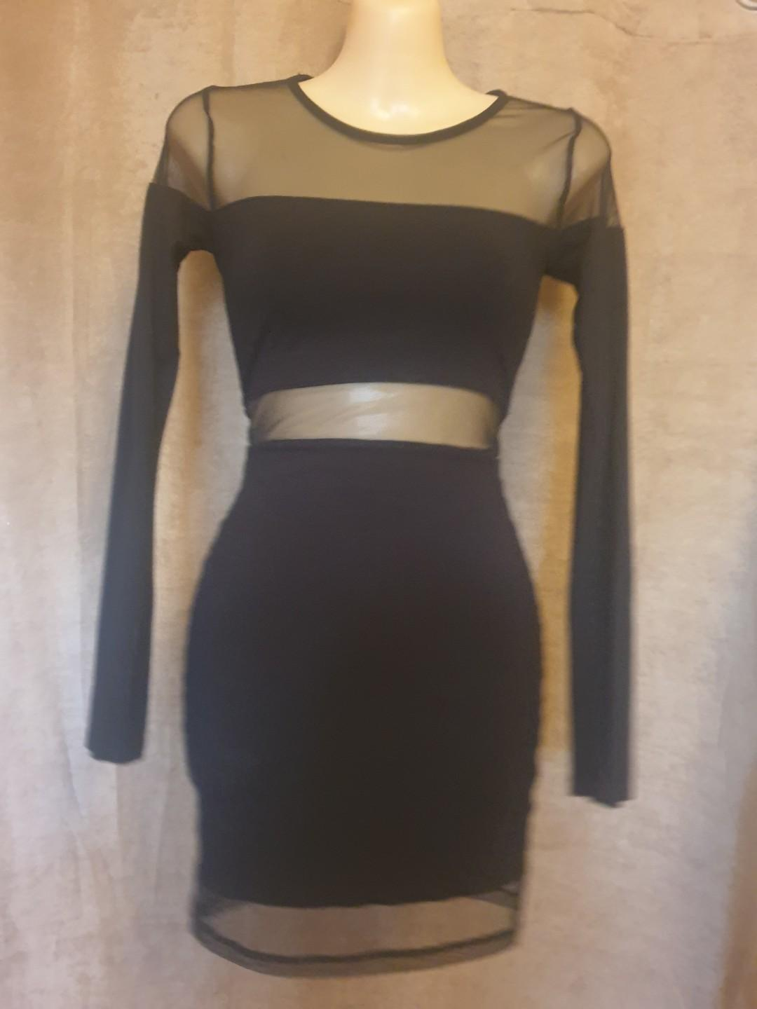 Sexy Black Bodycon Sheer Long Sleeve Dress Size XS Good Condition