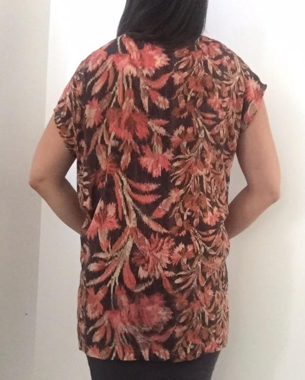 SHONA JOY Orange Floral  Print Silk Tunic Blouse Top Designer Sz AU 10