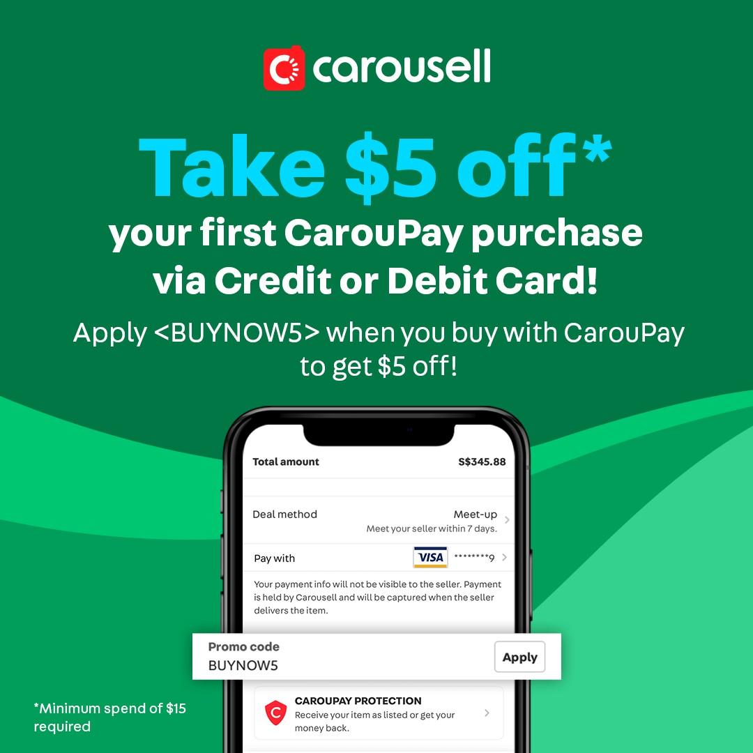 Snag $5 OFF your CarouPay purchase with promo code <BUYNOW5> when you use your debit/credit card!