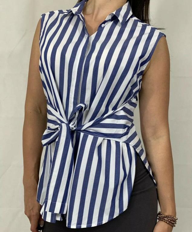 SPORTSCRAFT Blue White Striped Tie Front Sleeveless Blouse Sz AU 12