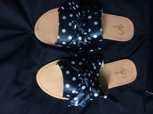 Spurr Tatton Slides Sandals Black & White Polka Dot Size 6