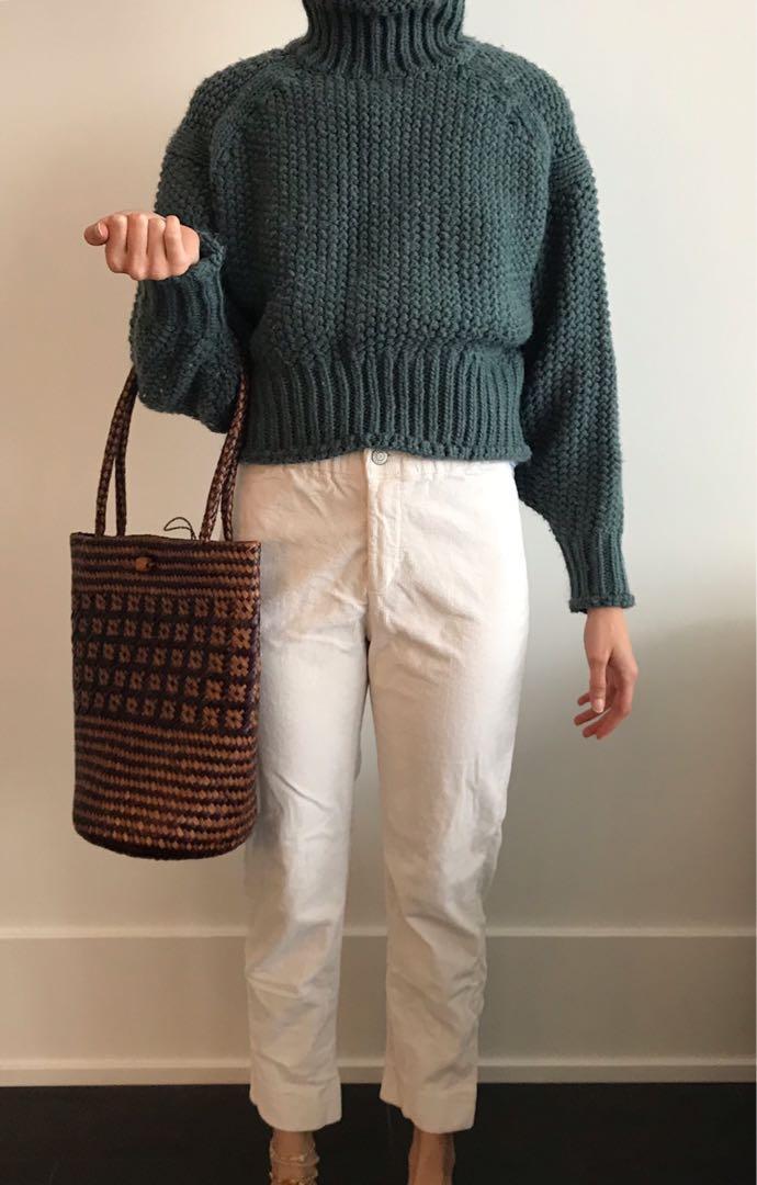 Brandy Melville pant + Straw bag + turtleneck sweater