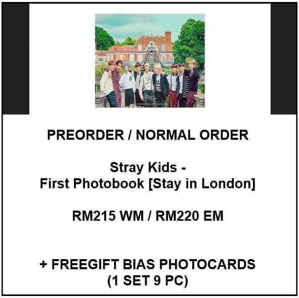 Stray Kids - First Photobook [Stay in London] - PREORDER/NORMAL ORDER/GROUP ORDER/GO + FREE GIFT BIAS PHOTOCARDS (1 ALBUM GET 1 SET PC, 1 SET GET 9 PC)
