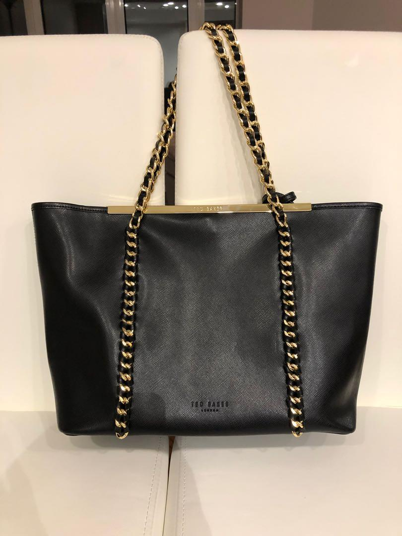 Lowered price- Ted Baker black leather tote w/ gold hardware