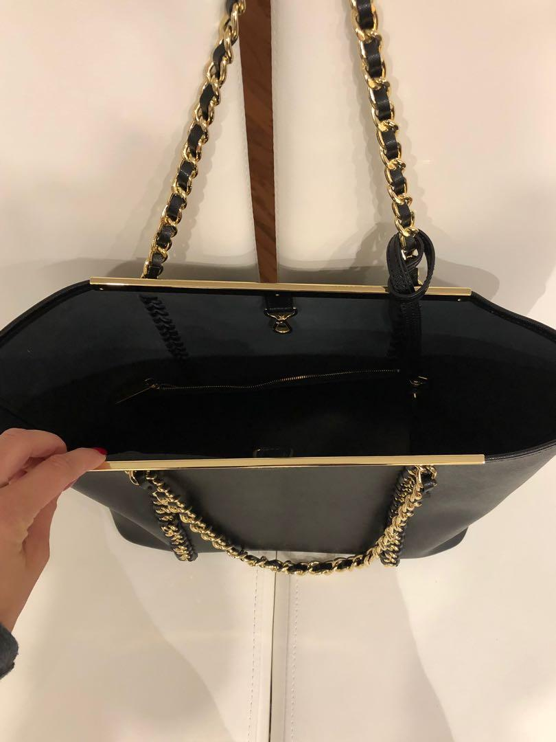 Price update - Ted Baker black leather tote w/ gold hardware