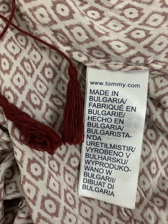 TOMMY HILFIGER Red White Diamond Print Designer Kaftan Top Blouse Sz AU 12