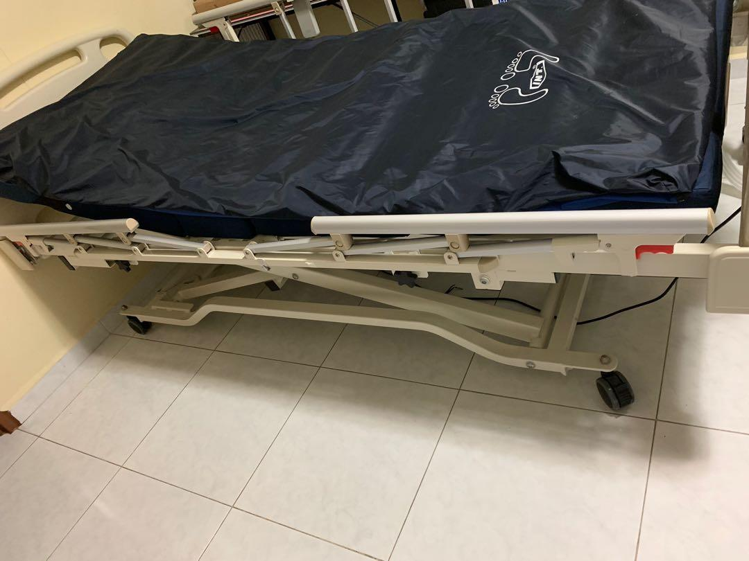 3 Function Electric Low Bed with 4 side rail & mattress and T4000 Air Ripple Mattress