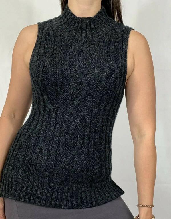 VERONIKA MAINE CUE Grey Cable Knit Turtleneck Roll Top Blouse Top Sz M AU 10-12