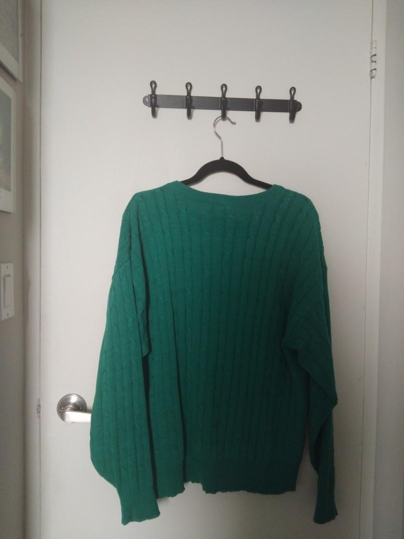 Vintage Green-Teal Cableknit Sweater (Mens Size L)