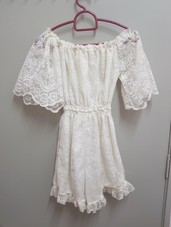 White lace off shoulder jumpsuit