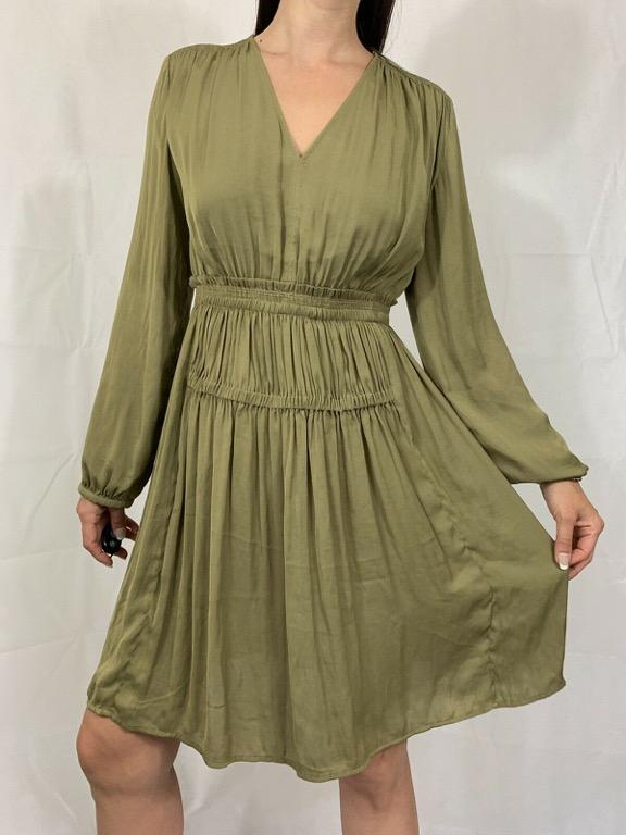 WITCHERY Olive Green Long Sleeve Blouson Dress Sz AU 10