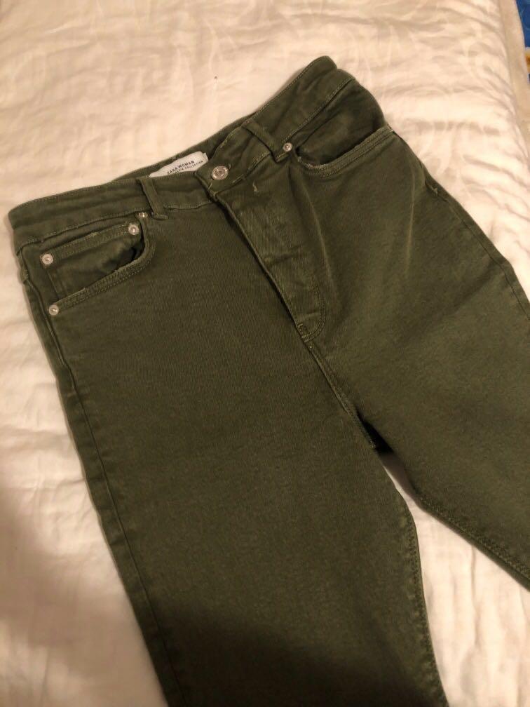 Zara distressed Olive/khaki green high waist skinny jeans