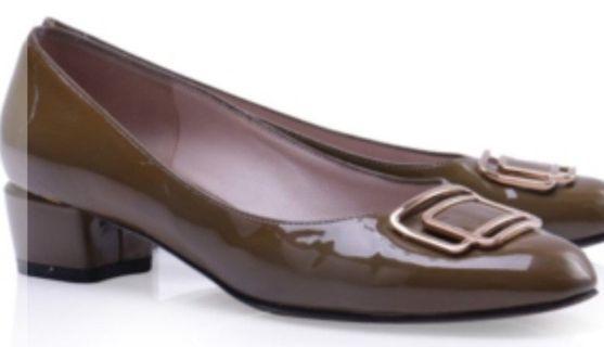 Authentic Salvatore Ferragamo Green Patent Leather