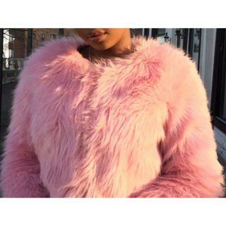 (Final price) Neon(hot) pink crop faux fur jacket