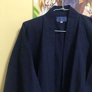 日本製🇯🇵日本深藍色古著甚平 作務衣 工作衣 外套 棉麻材質