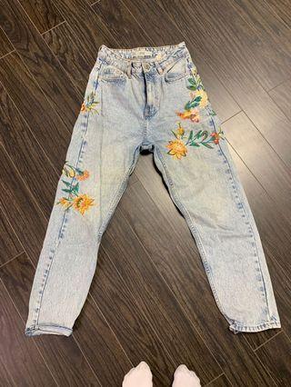 Topshop floral mom jeans