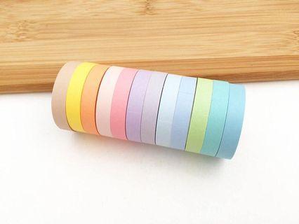 [PO] set of 8: thin pastel washi tape set