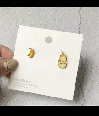 🍌韓國香蕉牛奶耳釘 耳夾🍌 可愛 韓系 少女【C05】