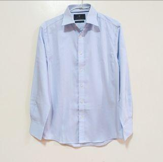 M&S 純棉修身淺藍男仕襯衫