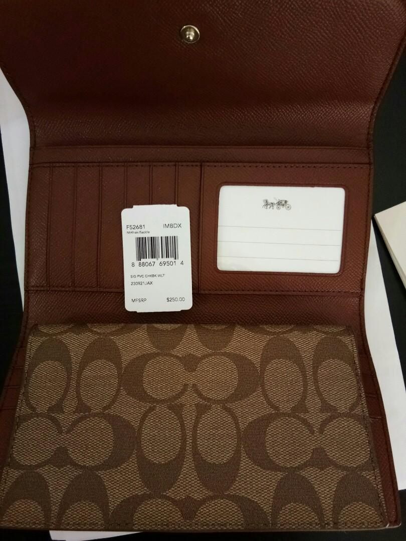 12.12 Sales RM800 100% Original Coach Signature PVC Coated Canvas Checkbook Wallet F52681