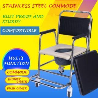 COMMODE WHEELCHAIR, STAINLESS STEEL, FULLY ASSEMBLED, MULTI-FUNCTIONAL