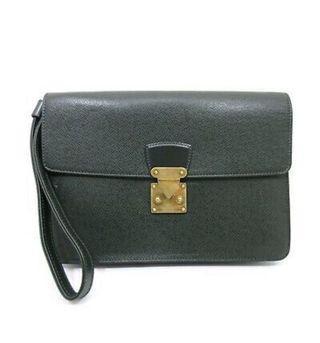 LOUIS VUITTON Taiga Green Clutch Bag Leather
