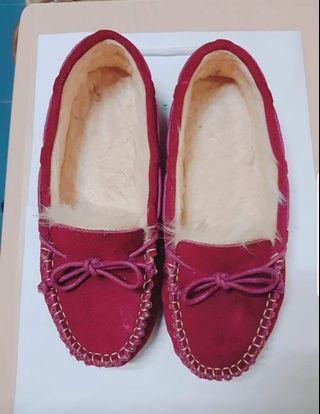 bonjour酒紅毛毛平底鞋