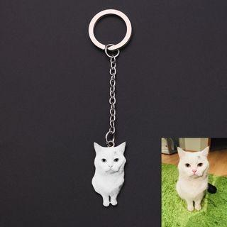 [PREORDER] 🆕🆒 Custom Pet Photo Keychain Engraved Name Stainless steel Dog Tag Key Chain For Women Men Memorial Best Christmas Gifts