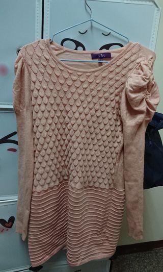 粉色長版毛衣