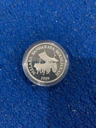 Malacca silver proof coin rare