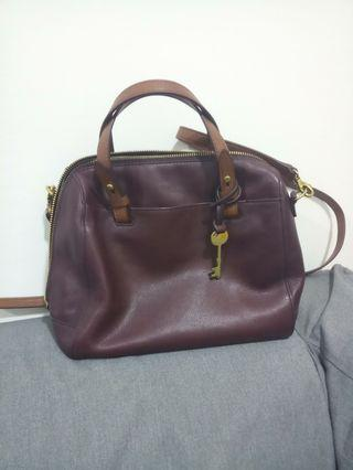 Fossil satchel (like new) maroon color