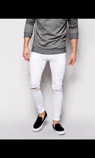 H&M White ripped distressed jeans
