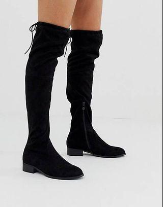 Black/light brown suede high knee boots
