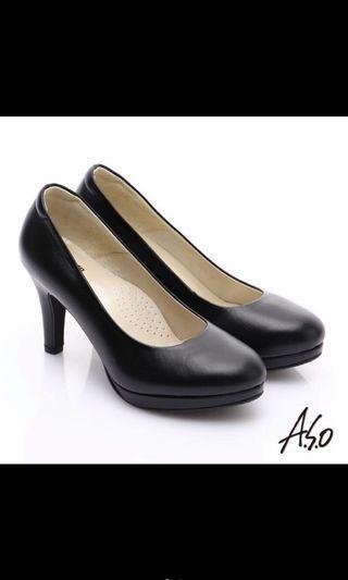 Aso 黑色氣墊高跟鞋 空姐包鞋