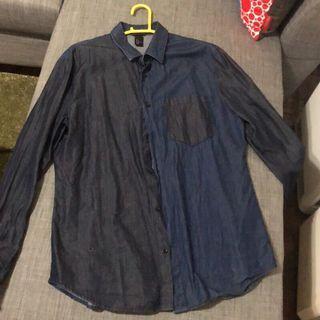 H&M 拼接 襯衫 牛仔 造型 設計 合身 時尚 長袖 襯衫 休閒