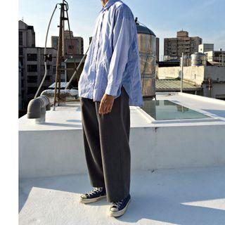 【全新】YU SELECT-優選 niko and … Free Size 藍色拼接鬚邊前短後長寬鬆長袖條紋襯衫