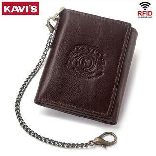 Wallet Men Male Portomonee Coin Purse Pocket Slim Short Tri-fold Card Holder Small with Chain