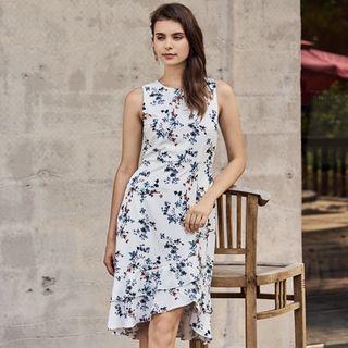 BNWT TCL Jerrina Floral Printed Midi Ruffles Dress