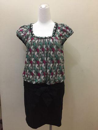 iROO 短洋裝40號 小包袖 黑色裙