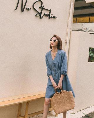 ®️mercci22 排釦v領洋裝
