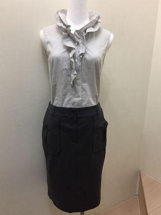 iCB 全新深灰開叉短裙 臀圍35日本品牌