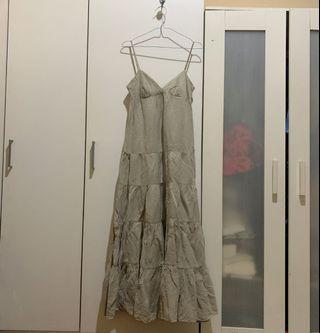 ZARA BASIC preloved long maxi beige nude dress very high quality limited edition