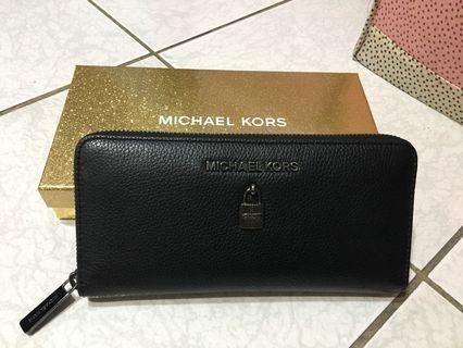 Michael kors 鎖頭荔枝皮紋真皮長夾 皮夾 MK
