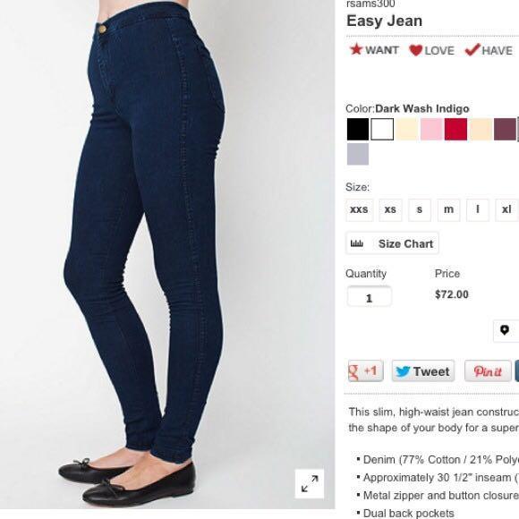 $95 American apparel easy jeans dark indigo size XS