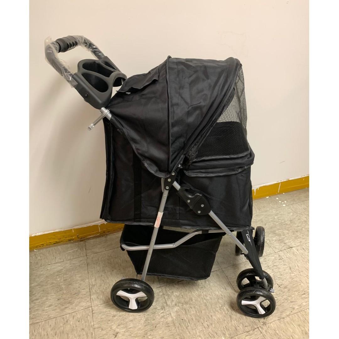 全新貓狗用黑色輕便折叠寵物四輪手推車