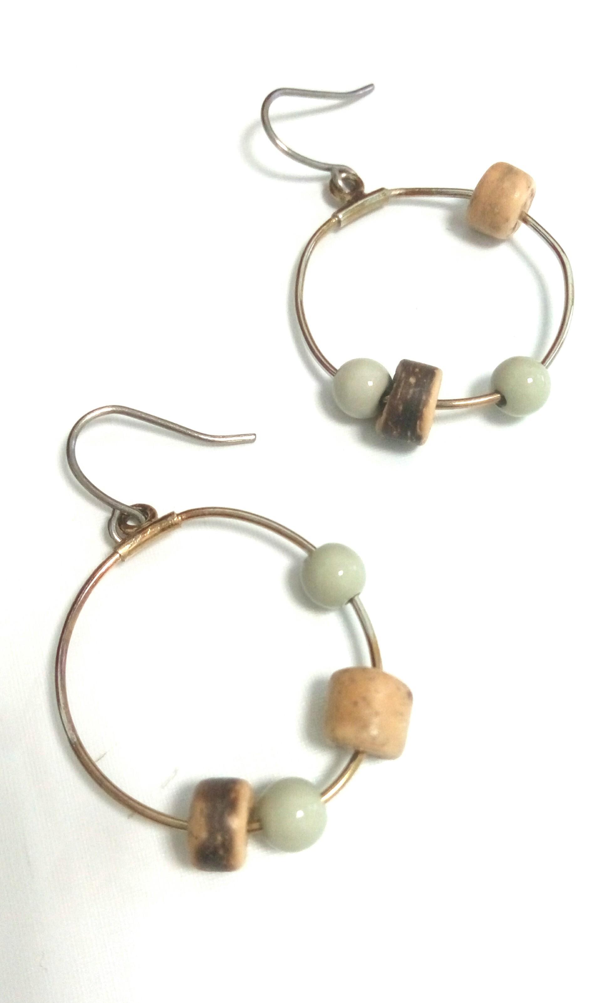 民族風串珠耳針式小耳環