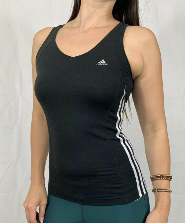 ADIDAS Black White Striped Fitted Activewear Gym Workout Tank Top Sz AU 8