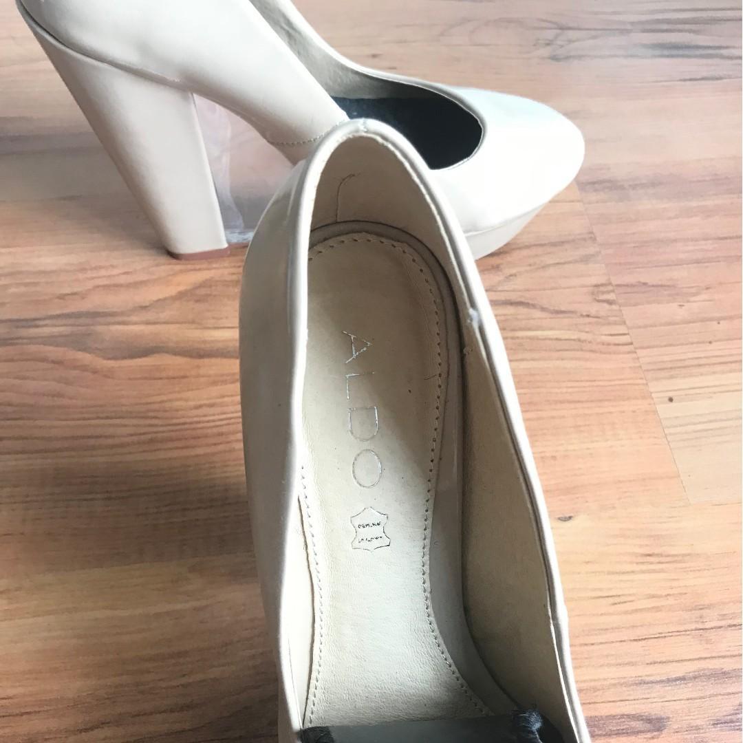 ALDO Nude Platform Wedge Heels, Clear Heel - size 8.5