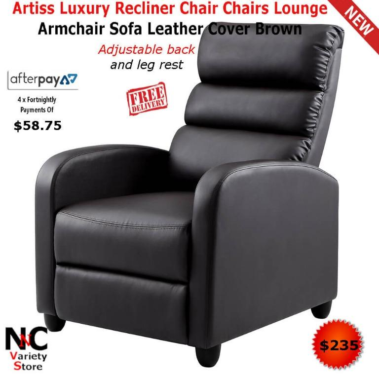 Artiss Luxury Recliner Chair Chairs Lounge Armchair Sofa Leather Cover Brown