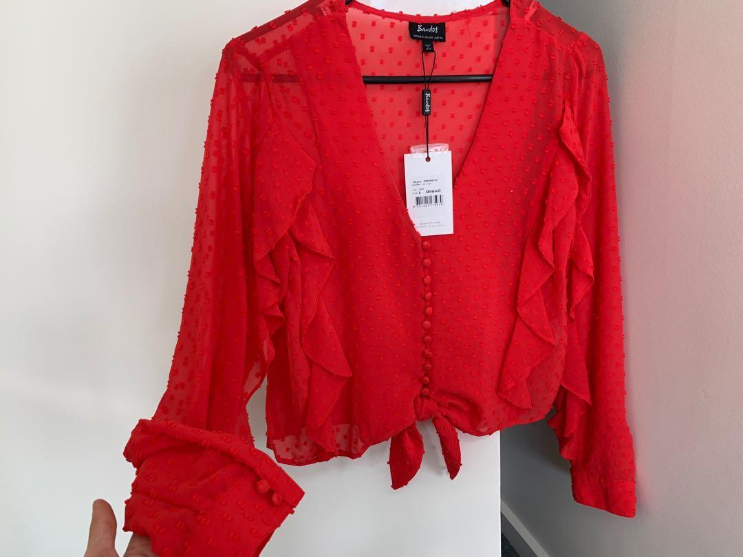Bardot red top size 8 - new with tags
